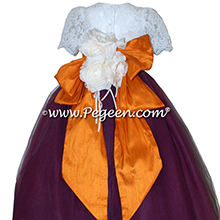 Eggplant, Tangerine (Orange)and New Ivory tulle couture flower girl dress