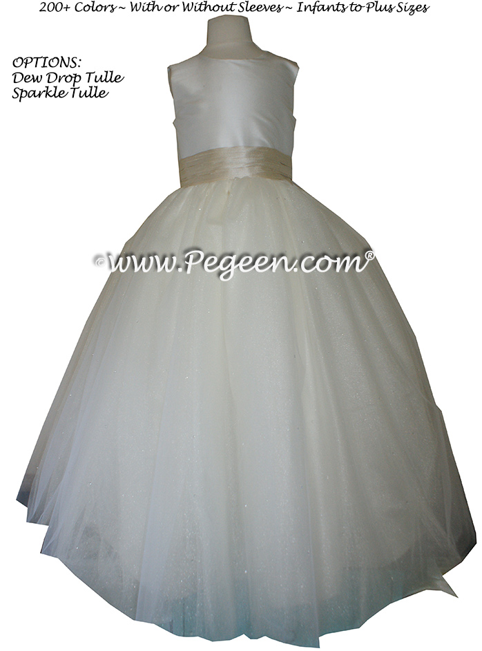 Bisque (creme) and Tawny Gold Silk and  Tulle ballerina style FLOWER GIRL DRESSES with layers and layers of tulle