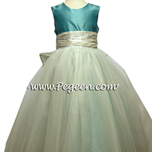 TIFFANY BLUE AND WHITE TULLE flower girl dresses