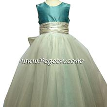 TIFFANY BLUE AND WHITE TULLE flower girl dresses