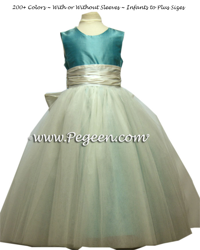 TIFFANY BLUE AND ANTIQUE WHITE ballerina style FLOWER GIRL DRESSES with layers and layers of tulle