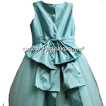 tiffany blue silk custom flower girl dress with tulle skirt