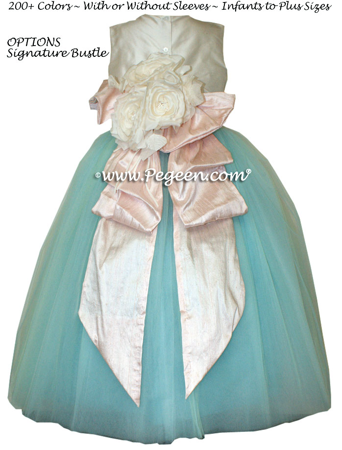 tiffany blue and blush pink ballerina style FLOWER GIRL DRESSES with layers and layers of tulle