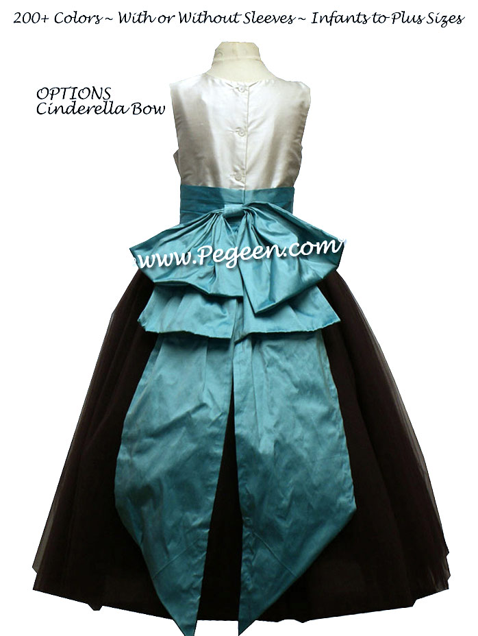 Tiffany Blue silk ballerina style Flower Girl Dresses with layers and layers of tulle