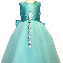 Tiffany blue and brown tulle flower girl dresses