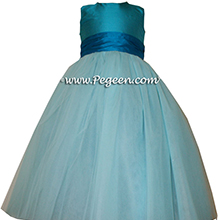 Tiffany blue and TURQUOISE tulle silk ballerina style FLOWER GIRL DRESSES with layers and layers of tulle