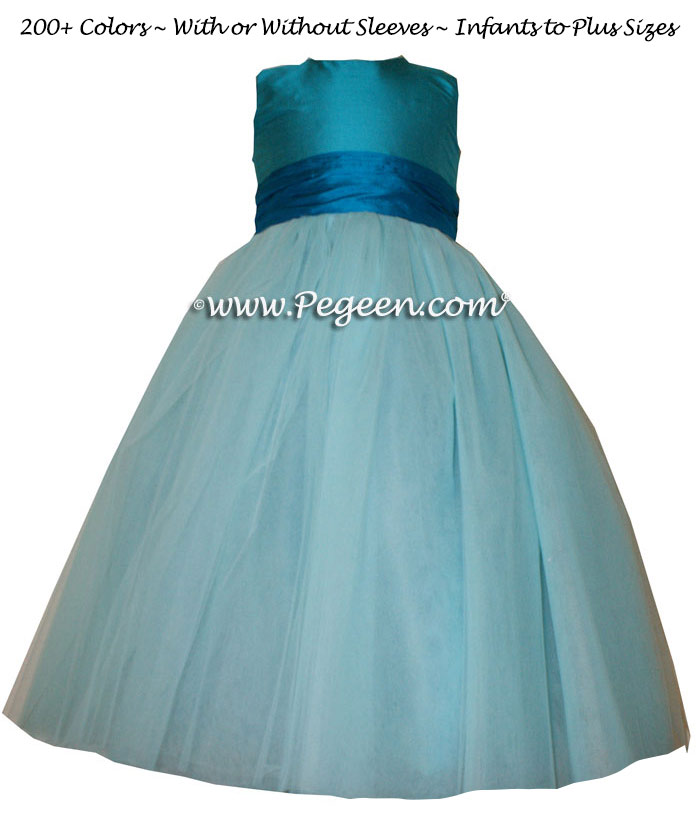 TIFFANY BLUE AND SEMI-SWEET ballerina style FLOWER GIRL DRESSES with layers and layers of tulle