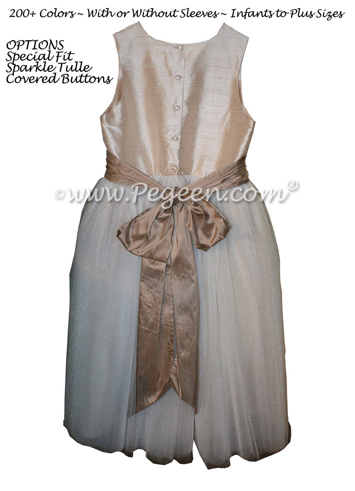 Ivory and Antigua Taupe and White Tulle  metallic ballerina style FLOWER GIRL DRESSES with layers and layers of tulle