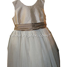 Ivory and Antigua Taupe and Champagne Tulle ballerina style FLOWER GIRL DRESSES