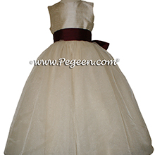 Toffee (creme) Silk and Burgundy ballerina style Flower Girl Dresses with layers of tulle