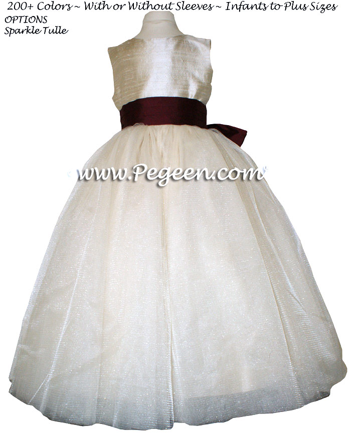Toffee (creme) Silk and Burgundy  metallic ballerina style FLOWER GIRL DRESSES with layers and layers of tulle