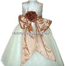 Camel, toffee and ivory tulle and silk flower girl dresses