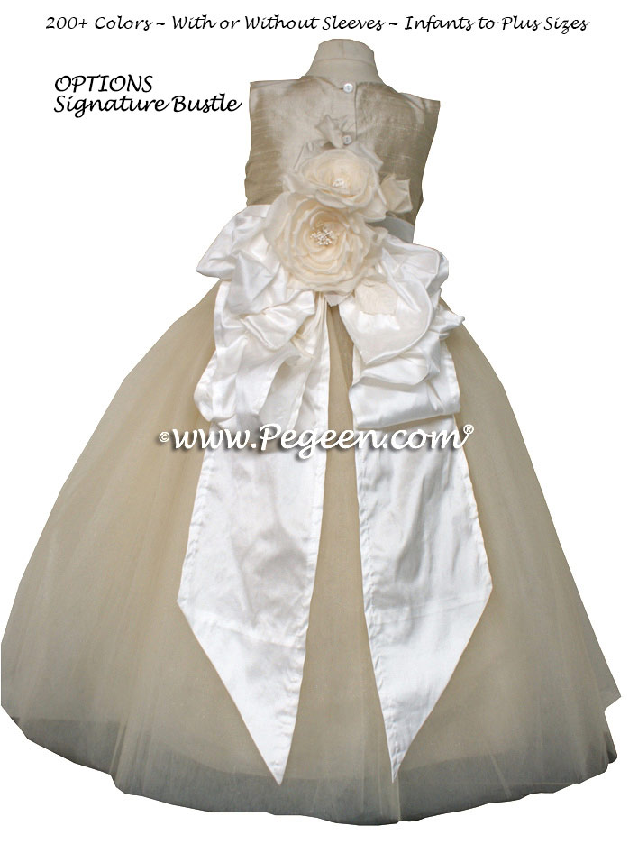 FLOWER GIRL DRESSES in Toffee (creme) Silk and Tulle by Pegeen
