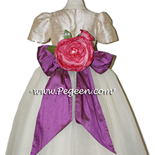 Toffee (champagne) ballerina style Flower Girl Dresses with layers and layers of tulle