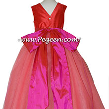 Tomato Red and Sorbet Pink ballerina style Flower Girl Dresses with layers of tulle