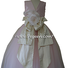 Petal Pink tulle ballerina style flower girl dresses with a Pegeen Signature Bustle
