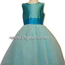 tiffany turquoise and oceanic tulle silk flower girl dresses with layers and layers of tulle