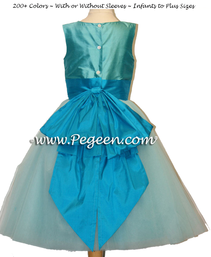 Tiffany blue and light brown ballerina style FLOWER GIRL DRESSES with layers and layers of tulle