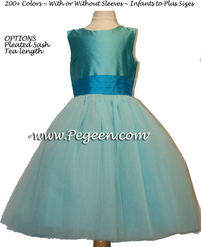 Turquoise blue and oceanic (teal) ballerina style FLOWER GIRL DRESSES with layers and layers of tulle