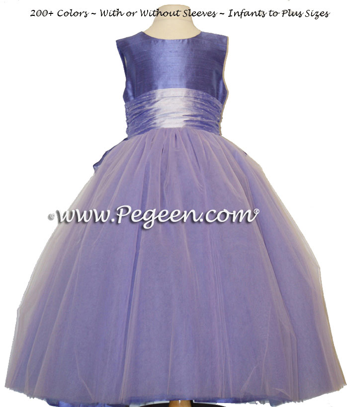 Pegeen's violet and lilac Tulle FLOWER GIRL DRESSES with 10 layers of tulle