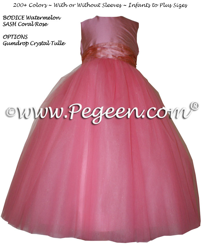 Watermelon and Coral Rose tulle flower girl dresses