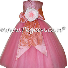 Watermelon pink and Coral Rose (coral) silk flower girl dresses 402 Gumdrop