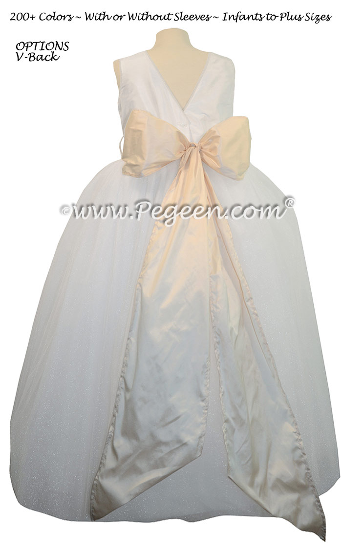 Bisque and Antique White ballerina style with white tulle