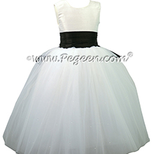 Antique White and Black Silk and Tulle ballerina style Flower Girl Dresses with a Cinderella Bow
