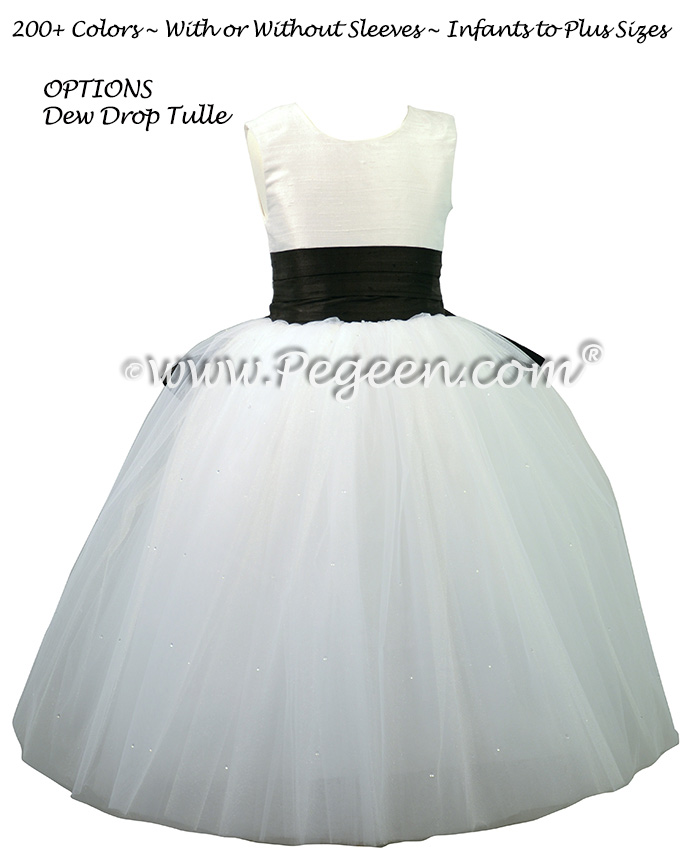Flower girl dresses in white and black with a cinderella bow pegeen antique white and black silk and tulle ballerina style flower girl dresses with a cinderella bow mightylinksfo