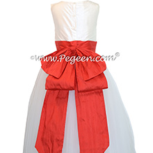 Christmas Red and Antique White ballerina style with white tulle