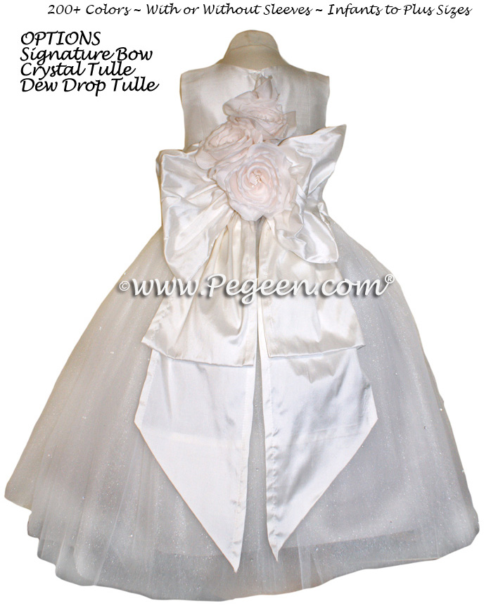 Antique White Dew Drop and Crystal tulle ballerina style flower girl dresses with Signature Bustle