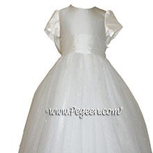 White Silk and Tulle Christening Gown