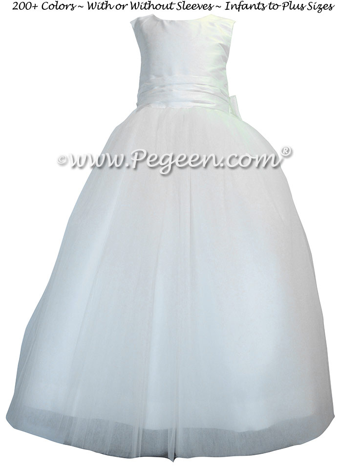 Antique White Tulle Flower Girl Dresses with Ruffled Sash