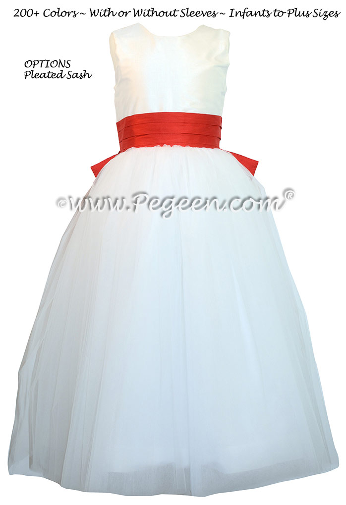 Flower Girl Dress in White and Tomato Red Silk with Cinderella Bow | Pegeen