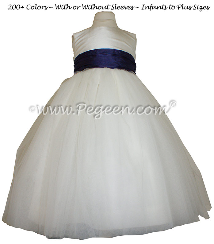 Tulle in Antique White Tulle ballerina style FLOWER GIRL DRESSES with layers and layers of tulle