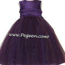 grape purple tulle flower girl dresses