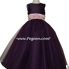 Petal Pink and Wildberry Purple Tulle ballerina style FLOWER GIRL DRESSES with layers and layers of tulle