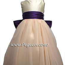 Deep purple and pink tulle flower girl dresses