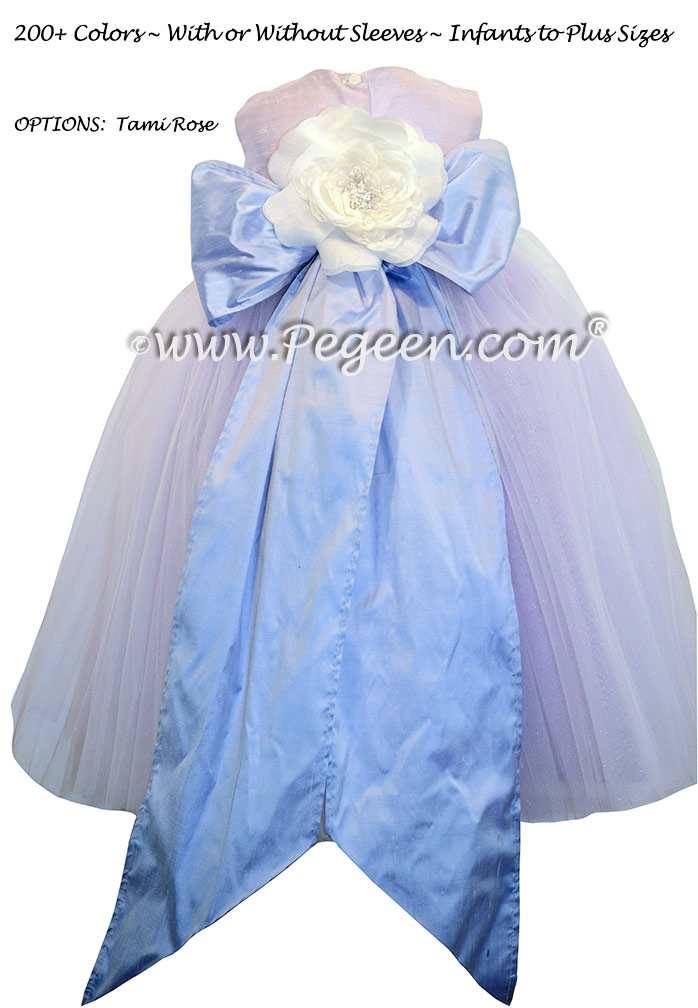 Flower Girl Dress with Multiple Layers of Tulle in Wisteria and Orchid  | Pegeen
