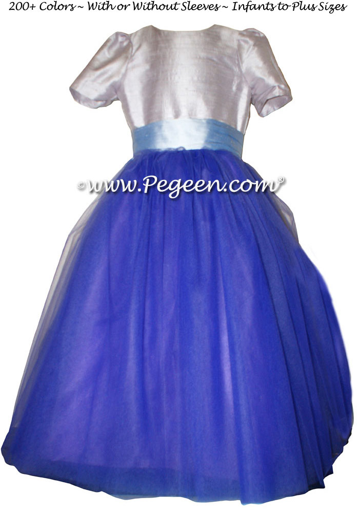 Light plum silk ballerina style FLOWER GIRL DRESSES with layers and layers of tulle