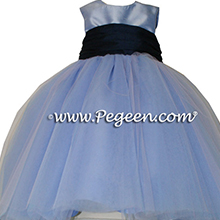 INFANT ballerina style Flower Girl Dresses with layers and layers of tulle in Wisteria and Navy Blue