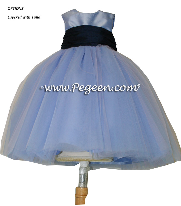 Wisteria and Navy Blue tulle ballerina FLOWER GIRL DRESSES - Degas style