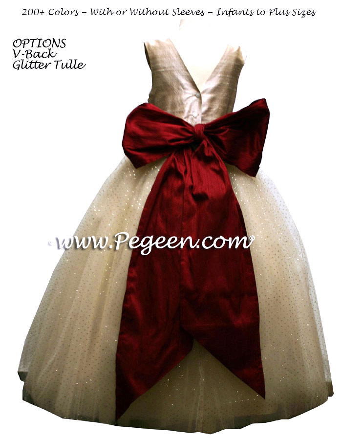 Claret Red and Gold ballerina style FLOWER GIRL DRESSES with layers and layers of tulle