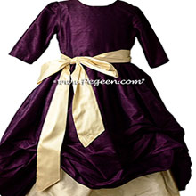1000 Nights (deep plum) and Buttercreme (yellow) Bubble Flower Girl Dresses - PEGEEN Style 403