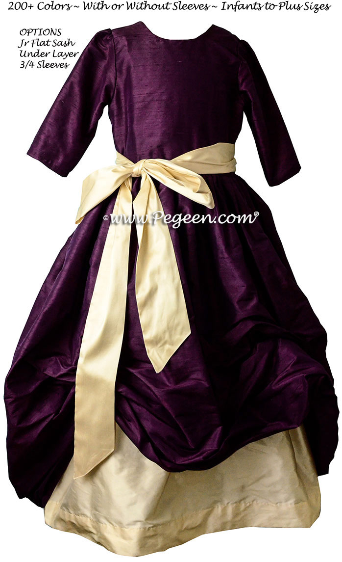 1000 Nights (deep plum) and Buttercream (yellow) Bubble flower girl dresses