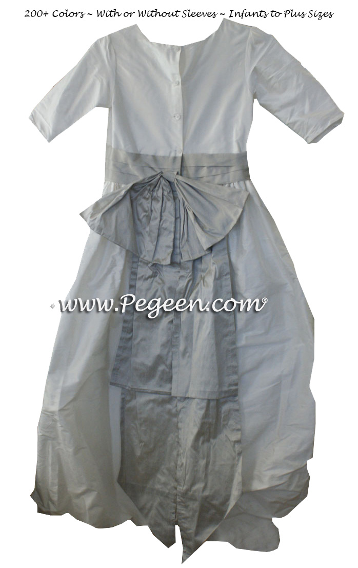 Platinum and New Ivory Silk Puddle flower girl dresses Style 403