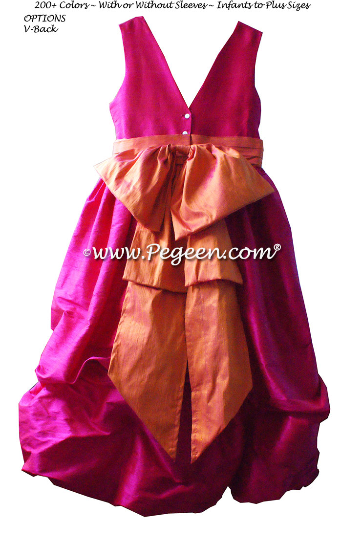 BOING (HOT PINK) AND MANGO ORANGE FLOWER GIRL DRESSES Style 403