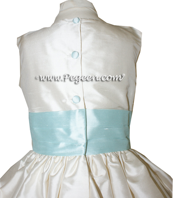 BISQUE AND BAY (LIGHT SPA COLOR AQUA) FLOWER GIRL DRESSES Style 403