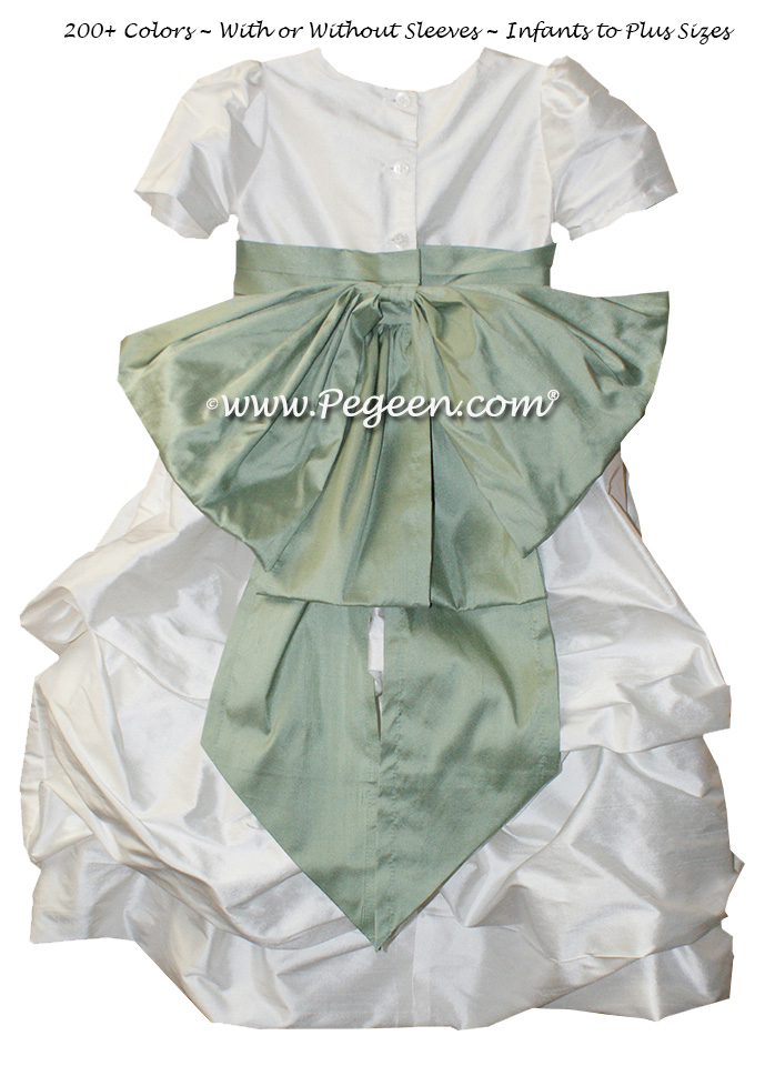 Celedon Green flower girl dresses in silk Puddle flower girl dresses Style 403