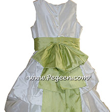 ANTIQUE WHITE AND Citrus GREEN PUDDLE DRESS WITH SLEEVES JR BRIDESMAIDS DRESSES